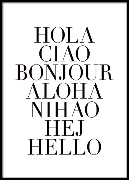 How To Say Hello Poster in the group Prints / Text posters at Desenio AB (3612)