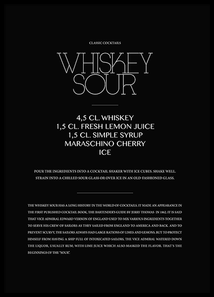 Classic Whiskey Sour Poster in the group Prints / Text posters at Desenio AB (3624)