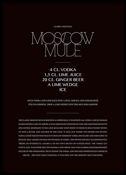Classic Moscow Mule Poster in the group Prints / Kitchen at Desenio AB (3626)