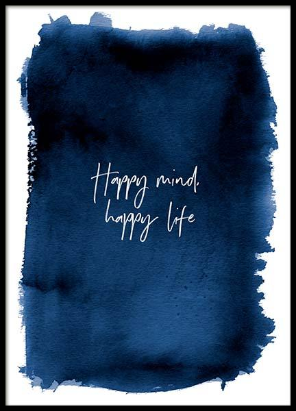 Happy Mind Poster in the group Prints / Typography & quotes at Desenio AB (3666)