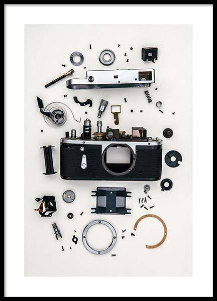 Disassembled Camera Poster in the group Prints / Sizes / 50x70cm | 20x28 at Desenio AB (3732)