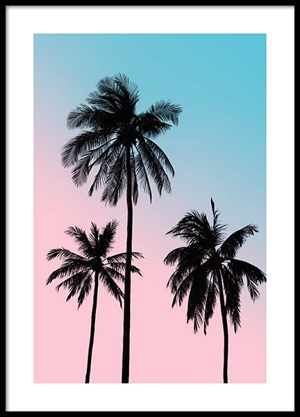 Pink Palm Sky Poster in the group Prints / Sizes / 50x70cm | 20x28 at Desenio AB (3781)