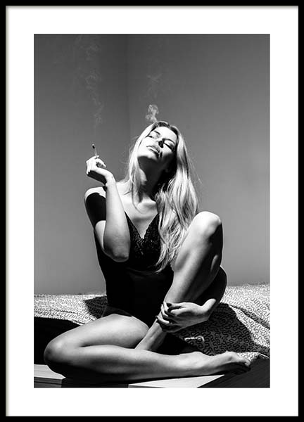 Smoking Woman Poster in the group Prints / Black & white at Desenio AB (3800)