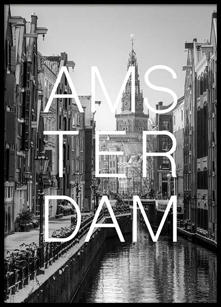 Amsterdam B&W Poster in the group Prints / Maps & cities at Desenio AB (3846)