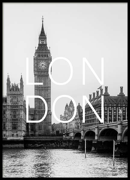 London B&W Poster in the group Prints / Maps & cities at Desenio AB (3849)