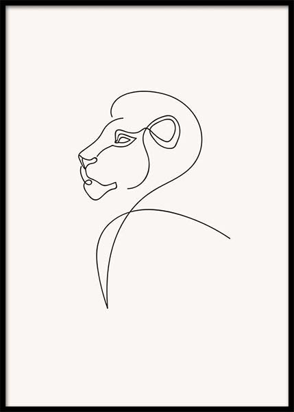Lion Lines Poster in the group Prints / Art prints at Desenio AB (3912)
