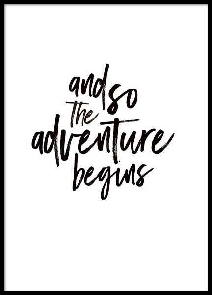 The Adventure Begins Text Poster in the group Prints / Typography & quotes at Desenio AB (3946)