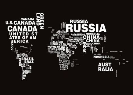 Dark black and white print with a world map and countries in text