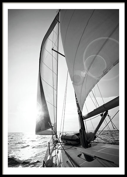 Posters and prints with black and white photographs, sail boats