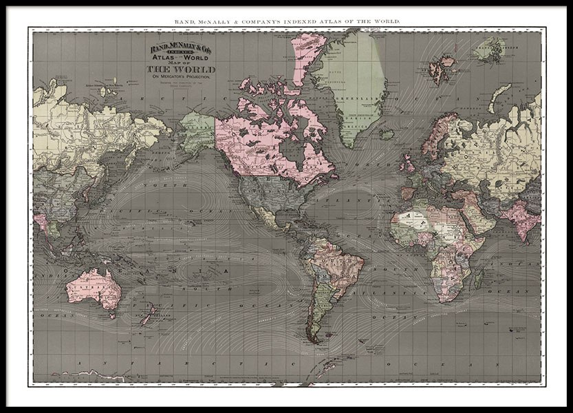Print with large, old world map for vintage interior design