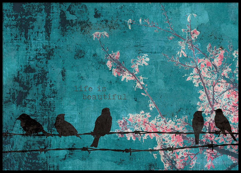 Poster with birds on a blue background, stylish prints online