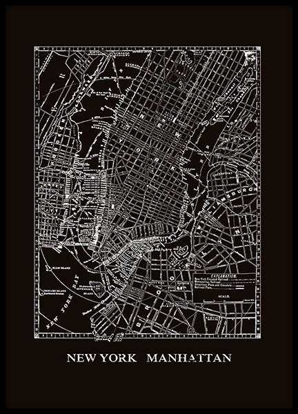 Print with a black and white map of Manhattan and cities online