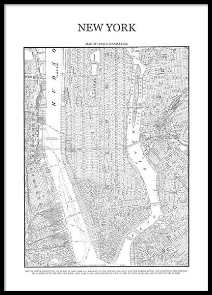 Prints and poster with a map of Manhattan, New York.