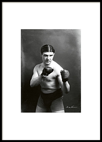 Poster with a vitnage photo of a boxer online in the webshop.