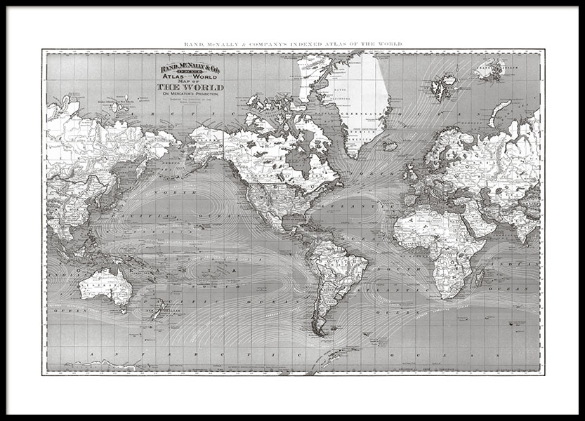 horizontal print with a black and white world map, buy for world maps online