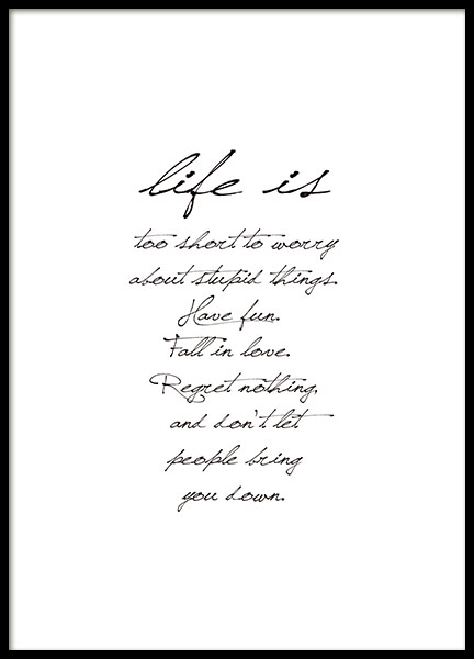 Prints with text for the living room and bedroom. Stylish black and white poster