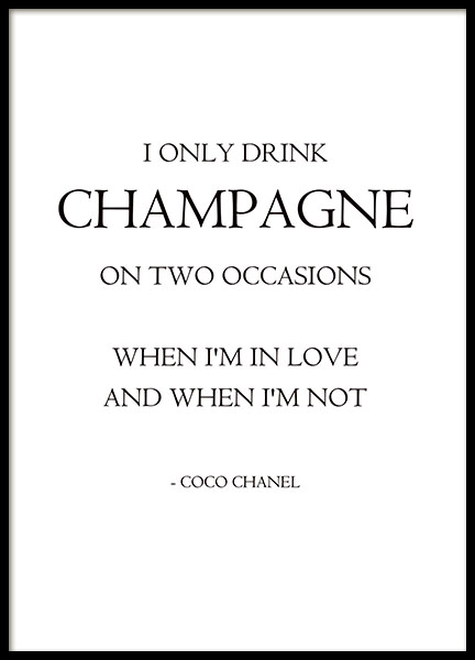 Chanel print with citation from Coco Chanel. Fashion posters online.