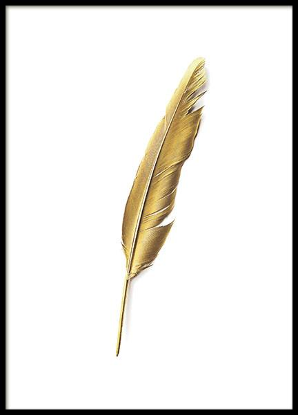 Print with a gold feather to brighten up the home