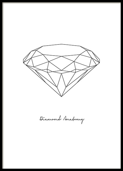 Print with geometric diamond, posters with diamonds online