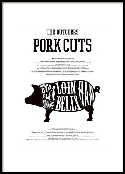Kitchen art and poster with butcher charts