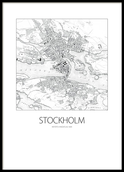 Poster / print with an old Stockholm map, prints and posters online