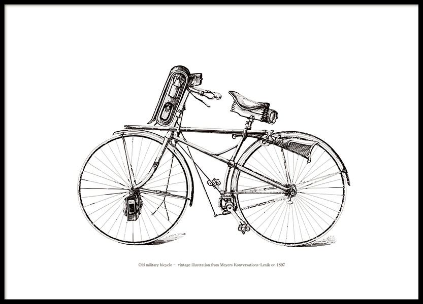 Poster with a vintage bike, black and white posters with vintage motifs