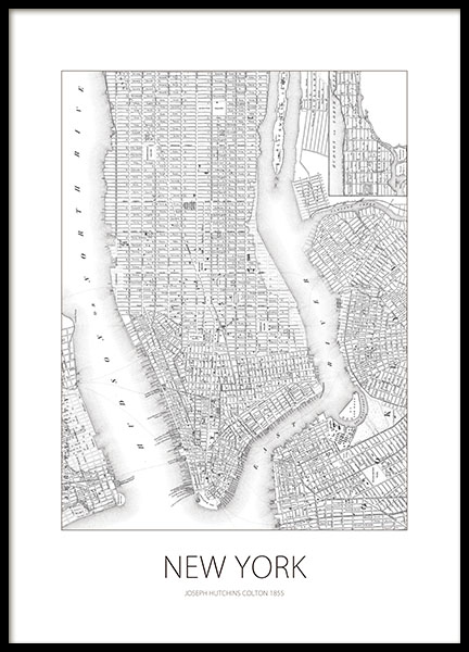 Black and white poster with a New York map online.
