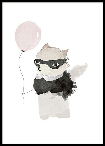 Kids print with an illustration in colour, raccoon