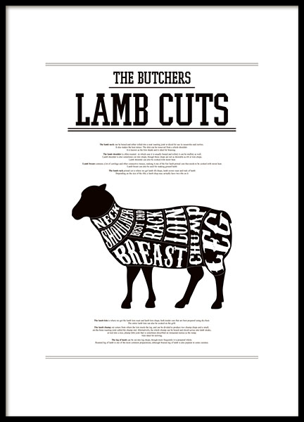 Print with a butcher's chart for a lamb. Nice for the kitchen