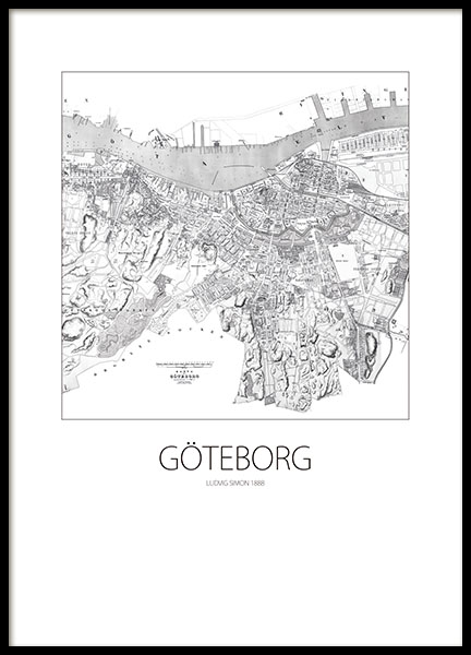 Prints with maps of cities. Gothenburg