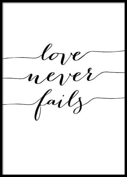 love never fails poster. Black Bedroom Furniture Sets. Home Design Ideas