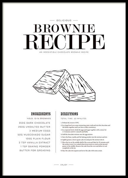 Kitchen poster with a brownie recipe, nice over the kitchen table
