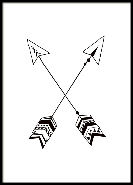 Black and White Arrows Poster in the group Prints / Kids wall art at Desenio AB (7870)