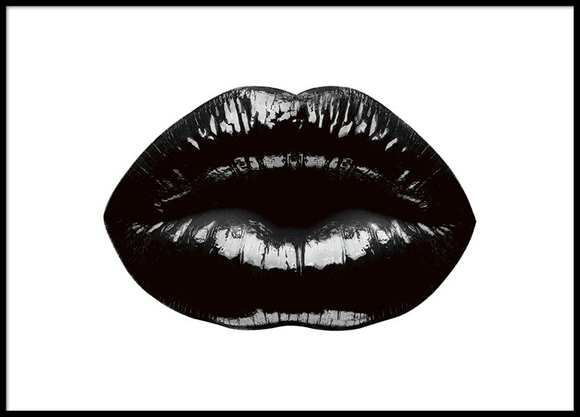 Black lips poster with black lips, trendy prints and posters