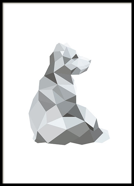 Poster with a polygon and animals for gray interior design