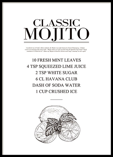 Stylish kitchen art with drink recipe, Mojito, print