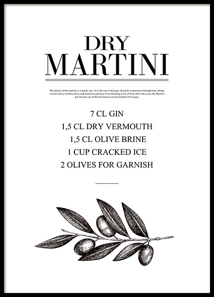 Kitchen prints with a dry martini drink recipe, stylish kitchen decor