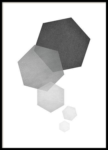 Gray poster with a hexagon, graphic motif