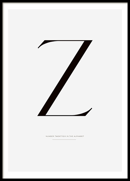 Letter Z, Poster in the group Prints / Sizes / 50x70cm | 20x28 at Desenio AB (7915)