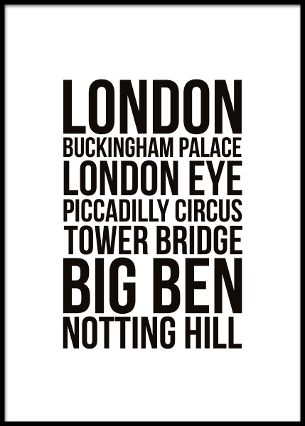 London Locations Poster in the group Prints / Maps & cities at Desenio AB (7932)