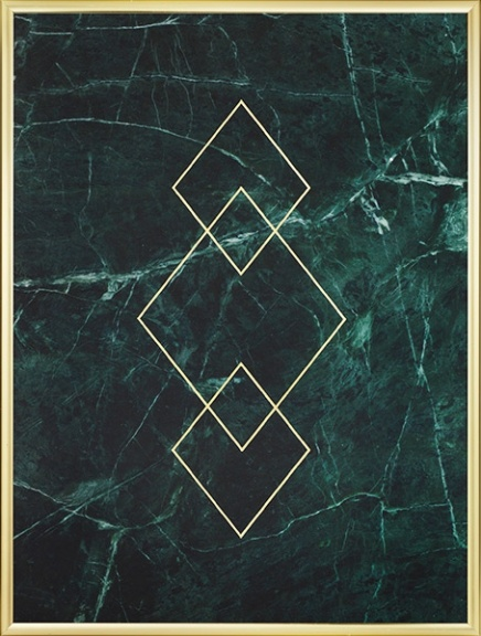 Green marble with graphic triangles in gold, print