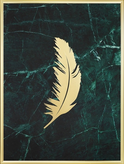 Poster with a feather in gold with marble for trendy interior design