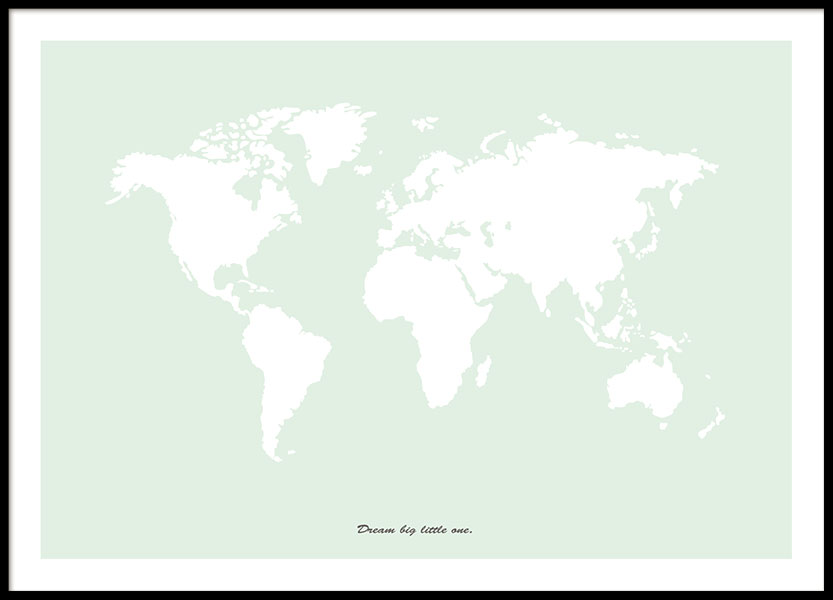 World map poster in light green with text