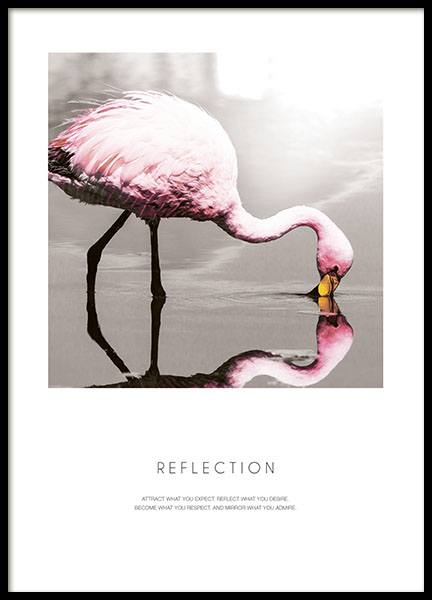 Poster with pink flamingo, print with text