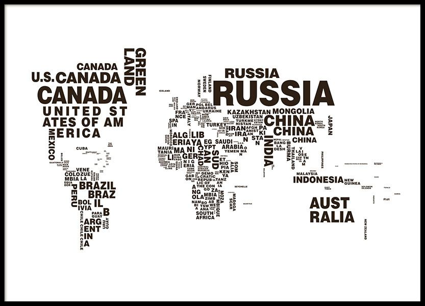 world map poster with text, black and white posters and prints