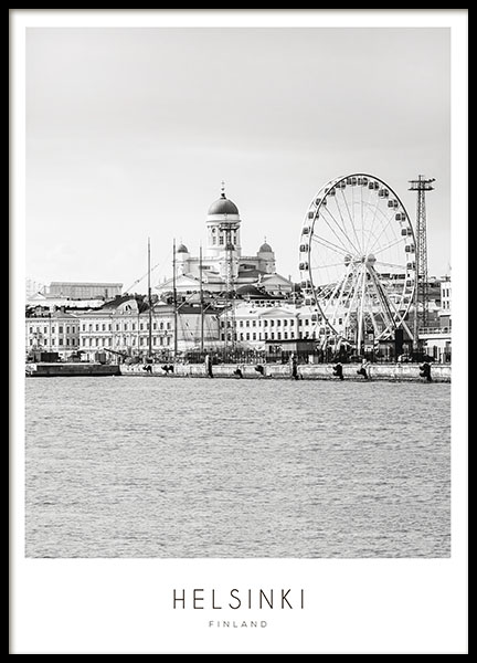 Black and white Helsinki print with photo, posters with cities