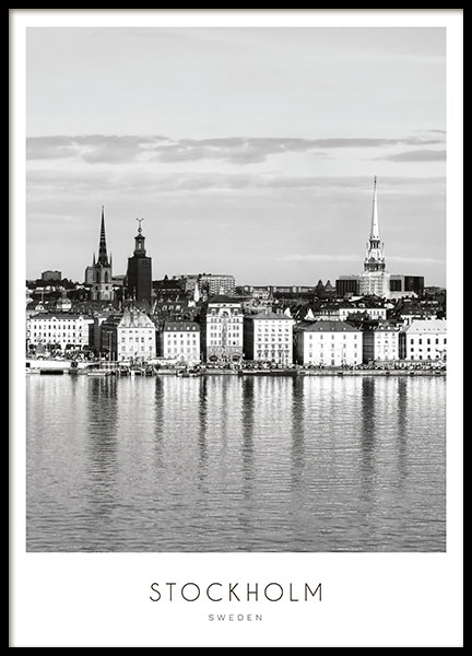 Black and white Stockholm print and poster of Stockholm
