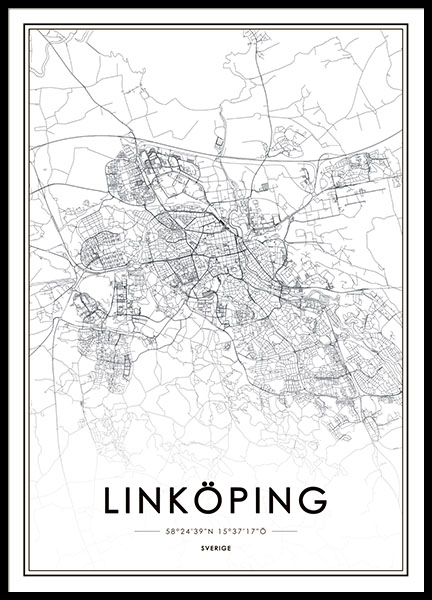 Poster with map of Linköping, cleanly designed prints online
