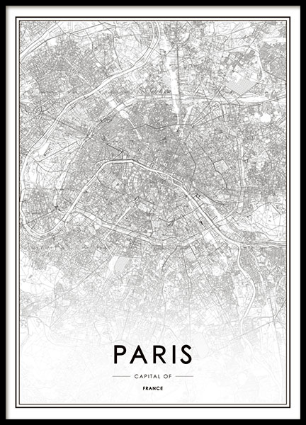 print of paris map black and white prints and posters. Black Bedroom Furniture Sets. Home Design Ideas