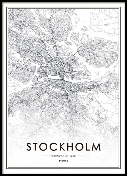 Prints and posters with Stockholm and maps